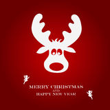 Christmas illustration with funny deer Royalty Free Stock Photo