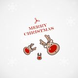 Christmas illustration with funny deer Royalty Free Stock Images