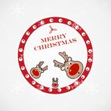 Christmas illustration with funny deer Stock Photography