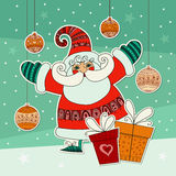 Christmas illustration with funny Santa Claus and gifts. Colorful design template. Cute Santa. Xmas design with mas ornaments. Stock Image