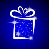 Christmas illustration with gift box. Royalty Free Stock Images