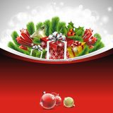 Christmas illustration with gift boxes Royalty Free Stock Photography