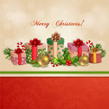 Christmas illustration with gift boxes. Royalty Free Stock Photo