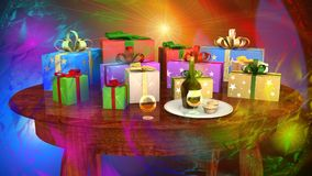 Gift parcels arranged on a wooden table Royalty Free Stock Image