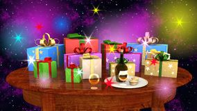Gift parcels arranged on a wooden table Stock Photo