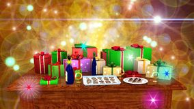 Gift parcels arranged on a wooden table Stock Photos