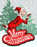 Christmas illustration of  girl in Santa Claus costume Stock Photo