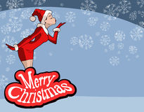 Christmas illustration of  girl in Santa Claus costume Royalty Free Stock Photography