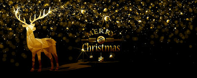 Christmas illustration with Gold deer Royalty Free Stock Photos