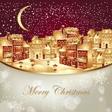 Christmas illustration with gold town Stock Photo