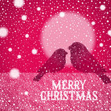 Christmas illustration with hand drawn bullfinches Stock Images