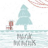 Christmas illustration with hand drawn lettering. Royalty Free Stock Photography