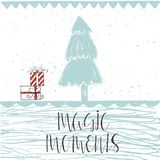 Christmas illustration with hand drawn lettering. Stock Images
