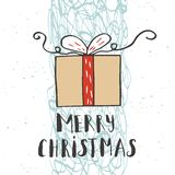 Christmas illustration with hand drawn lettering. Stock Image