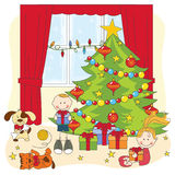 Christmas illustration. Kids opening gifts. Stock Photos