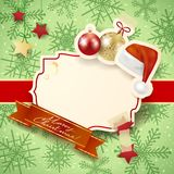 Christmas illustration with label, baubles and hat Royalty Free Stock Photos