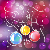 Christmas illustration with lettering in 2017. The composition of Christmas balls with a nice weave ribbons on blurred background Royalty Free Stock Images