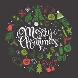 Christmas illustration, lettering Stock Images