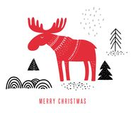 Christmas illustration with moose, hand drawn in Scandinavian style greeting card Stock Photos