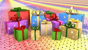 Christmas gift parcels arranged on carpet Royalty Free Stock Images