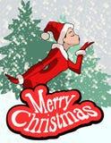 Christmas Illustration Of Girl In Santa Claus Costume Stock Photo