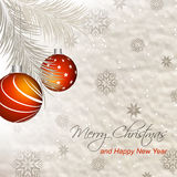 Christmas  illustration with orange baubles, pine needles and snowflakes Stock Photos