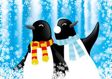 Christmas illustration with penguins. Christmas illustration with penguins on a blue background Stock Photography