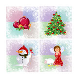 Christmas illustration with pine,balls and angel Royalty Free Stock Photos