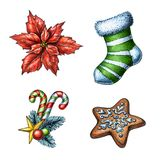 Christmas illustration, poinsettia flower, holiday sock, cookie, Royalty Free Stock Photo