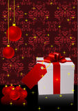Christmas illustration with present box Stock Photo