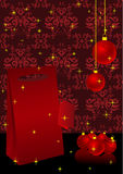 Christmas illustration with present box Royalty Free Stock Photo