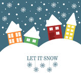 Christmas Illustration with quote Let it snow Stock Image