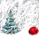 Christmas. Illustration with red ball and  tree.  Greeting Card 2015.Bright winter background with beautiful  toy balls Stock Illustration