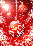 Christmas illustration with red balls Stock Photo