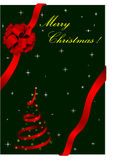 Christmas illustration with red bow. And Christmas tree Stock Images