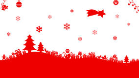 Christmas illustration. In red with trees, presents, shooting star, ornaments, snowflakes, snowman and shooting star on white Stock Illustration