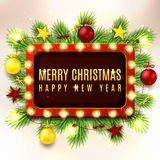 Christmas illustration with red and yellow toys Royalty Free Stock Photos