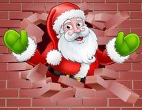 Santa Cartoon Breaking Through a Wall Background Royalty Free Stock Photo