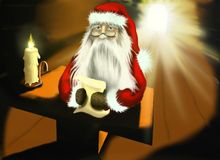 Christmas illustration with Santa Claus. Illustration with Santa Claus who reading in old house ( by candlelight) a letter from the children Royalty Free Stock Images