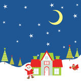 Christmas illustration with Santa Claus and bird at night suitable for Xmas greeting card, postcard, and wallpaper. Christmas illustration with Santa Claus and Royalty Free Stock Photo