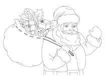 Christmas  illustration with Santa Claus carrying sack full of gifts, black and white. Christmas  illustration with Santa Claus carrying a sack full of gifts Royalty Free Stock Photo