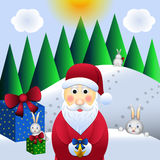 Christmas illustration, santa claus and hares Royalty Free Stock Image