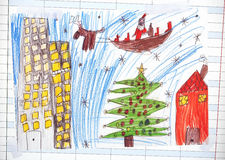 Christmas illustration about Santa Claus. Christmas illustration about Santa sleigh, made by a kid, on the external wall of a public school Stock Photos