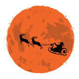 Christmas Illustration of Santa and His Reindeer on Full Moon Background. Vector Royalty Free Stock Images