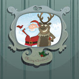 Christmas illustration  with Santa and Rudolph Royalty Free Stock Photos