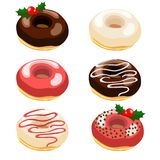 Christmas  illustration set of donuts with various Royalty Free Stock Photography