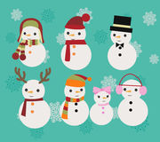 Christmas Illustration set of snowmen Stock Photo