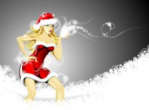 Christmas illustration with sexy Santa girl. Royalty Free Stock Photography