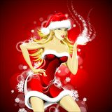 Christmas illustration with sexy santa girl Royalty Free Stock Photography