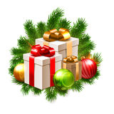 Christmas illustration, shiny baubles and gift boxes on fir branches isolated on white Royalty Free Stock Photo